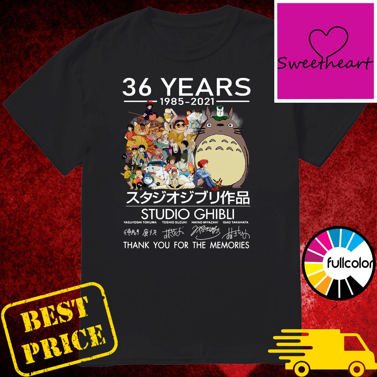 Official 36 Years 1985 2021 Studio Ghibli Movies Signatures Thank You For The Memories Shirt