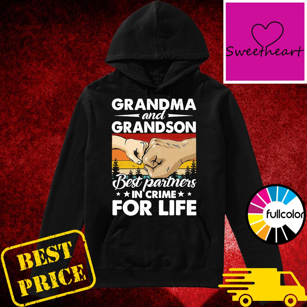 Official Vintage Retro Grandma And Grandson Best Partners In Crime For Life Shirt Hoodie